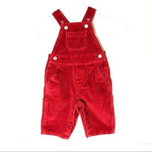 Hanna Anderson snap button red corduroy overalls
